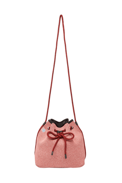 Shira Rose Red Neoprene Bucket Bag - Chuchka