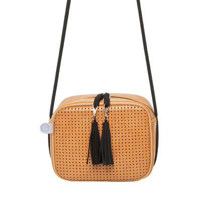 Tania Vegan Leather Crossbody Bag (Tan) - Chuchka
