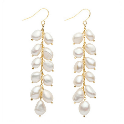 Gold Pearl Drop Earrings - Chuchka