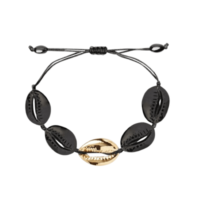 Black Gold Shell Bracelet (Adjustable) - Chuchka