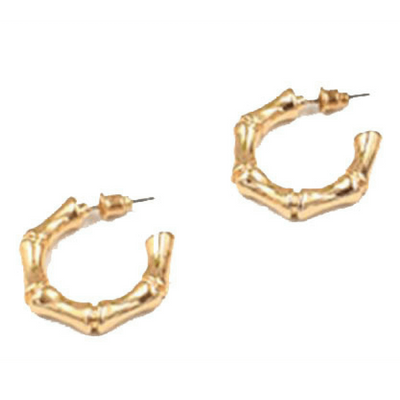 Gold Bamboo Hoop Earrings - Chuchka