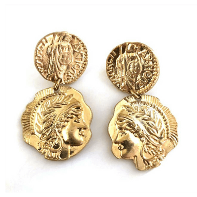 Gold Roman Drop Earrings - Chuchka