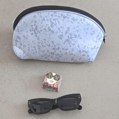 Terrazzo Grey Neoprene Makeup Bag & Travel Pouch - Chuchka
