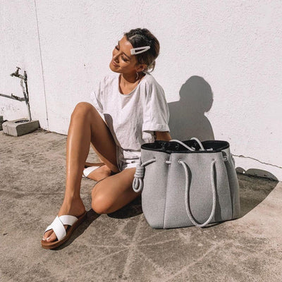 Porsha Grey Neoprene Bag - Chuchka
