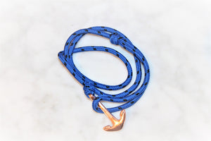 Be Fierce Nautical Bracelet Rose Gold Anchor on Royal Blue Coloured Rope