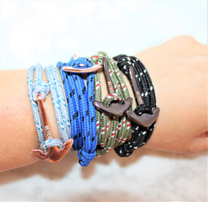 Be Fierce Nautical Engraved Bracelets with Anchor and Rope on Wrist