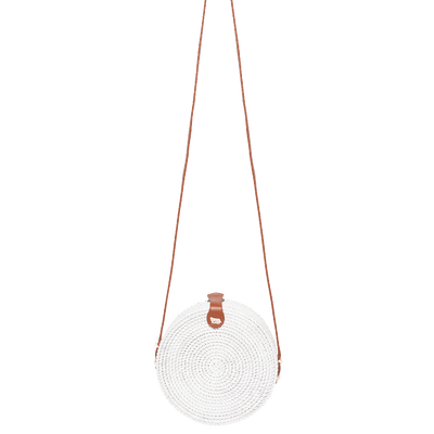 Hanoi Round Basket Bag (White) - Chuchka