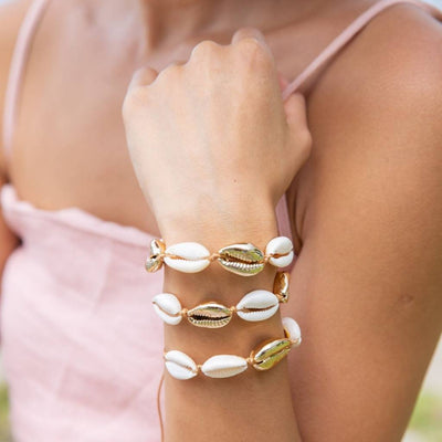 Gold Dipped Shell Bracelet (Adjustable) - Chuchka