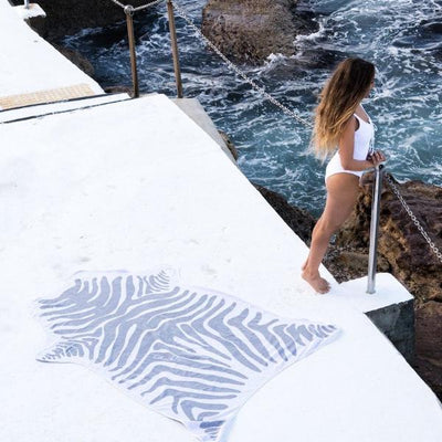 Grey Zebra Jungle Towel perfect for beach