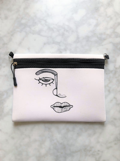Harley chuchka neoprene pouch in white with face print