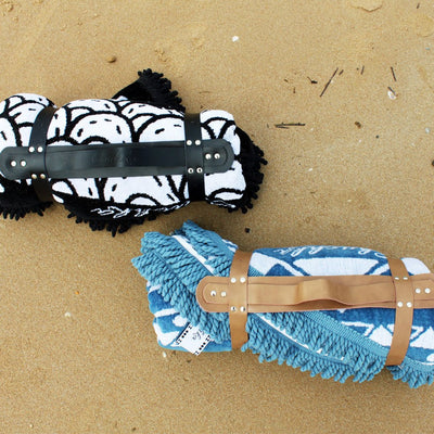 Chuchka Leather Carry Straps for Round Towel on the Beach