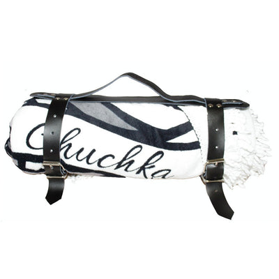 Chuchka Black Leather Carry Strap for Round Towel
