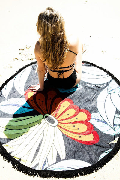 Lotus Round Beach Towel - Chuchka