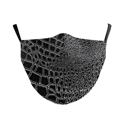 Face Mask Black Snake Print