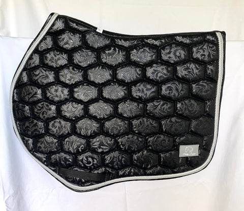 Black floral saddle pad - Jump