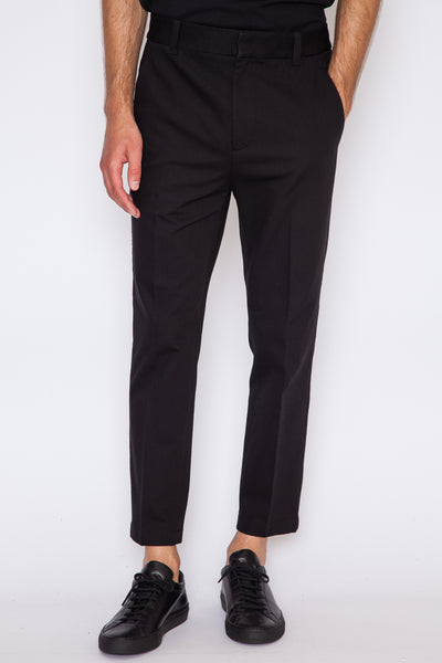 Washed Cotton Cropped Saddle Pant