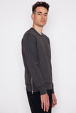 Charcoal Midweight Terry Side Zip L/S Crewneck