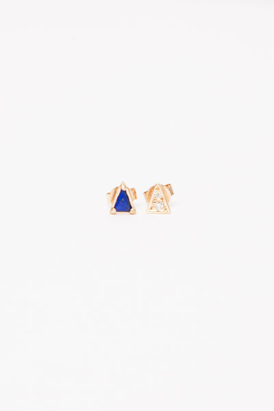 Mismatched Lapis Triangle Earrings