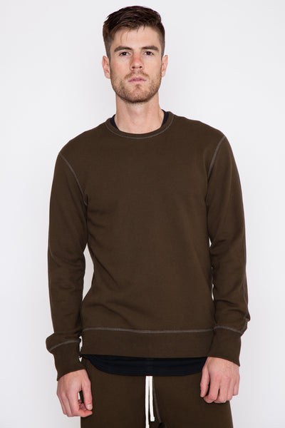 Olive Midweight Terry Side Zip L/S Crewneck