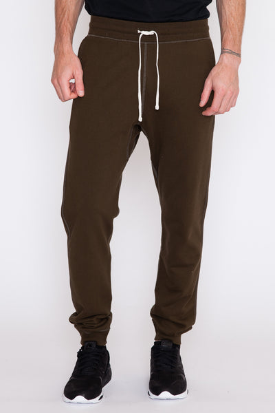 Olive Midweight Terry Slim Sweatpant