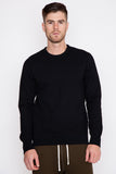 Black Midweight Terry Side Zip L/S Crewneck