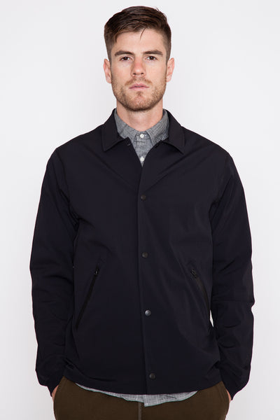 Black Stretch Nylon Coach's Jacket