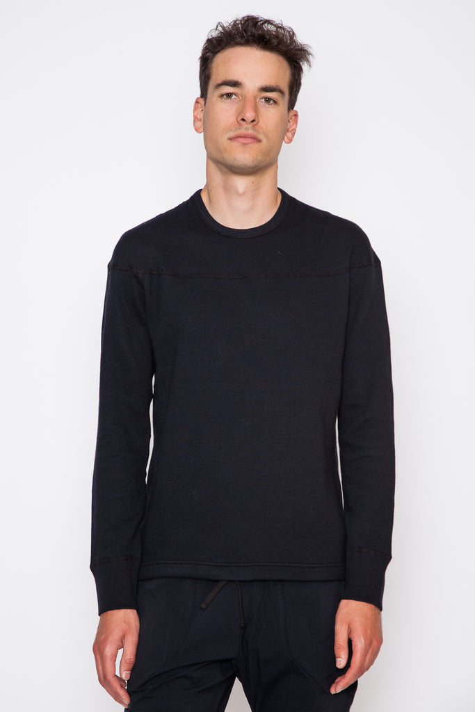 Mesh Double Knit Panel Crewneck