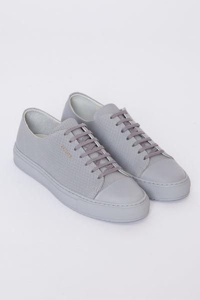Grey Perforated Leather Cap Toe Sneaker