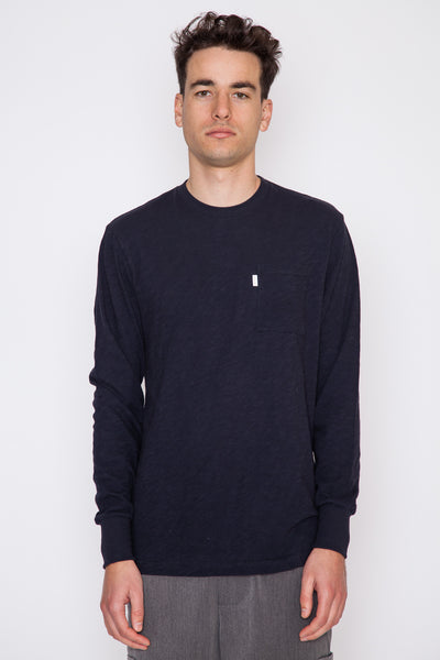 Dark Midnight Loose Slub L/S Pocket Tee