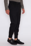 Black Sponge Fleece Curved Leg Trackpant