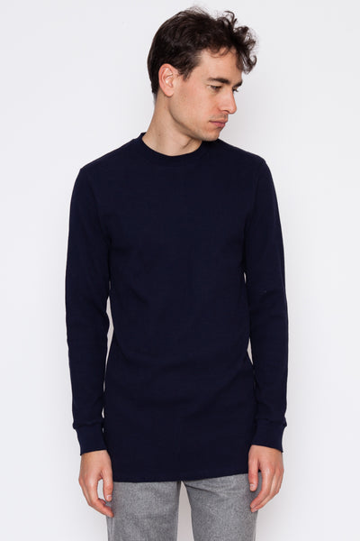 Dark Navy L/S Distressed Waffle Thermal