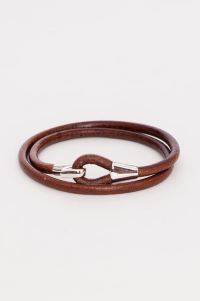 Brown/Sterling Mason Leather Wrap