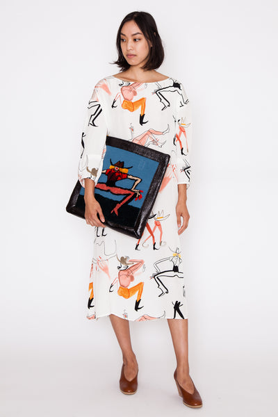 Wild Cat Embroidered Sleeve Tote