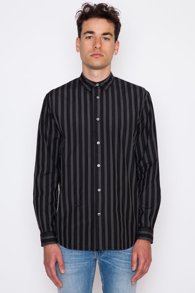 Overdyed Stripe Pleat Shirt