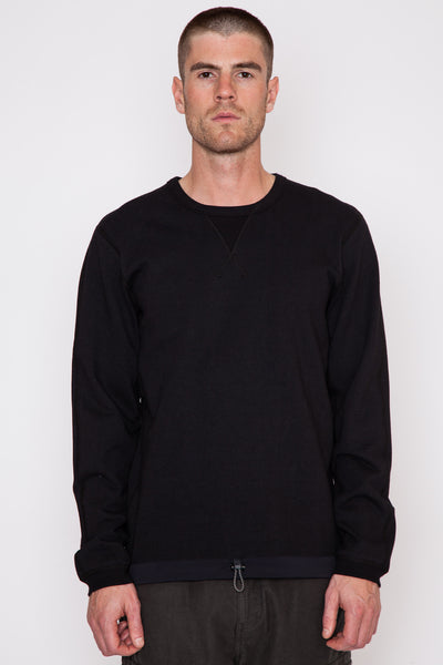 Black Terry/Nylon Hybrid L/S Crewneck
