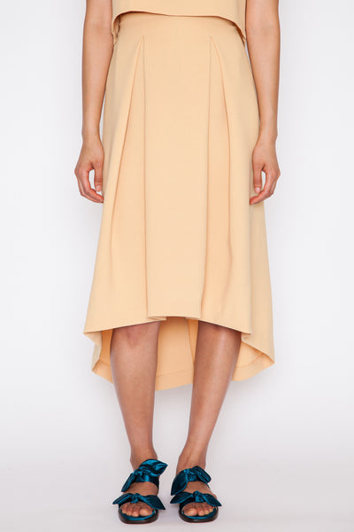 Yellow Piece of Ring Pleated Midi Skirt