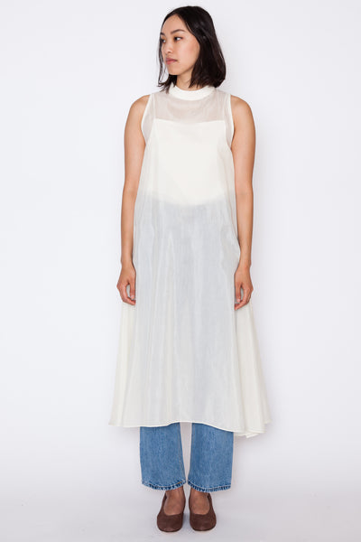 Glass Overlap Side Slit Sheer Dress