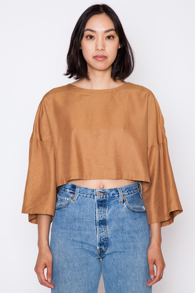 Can Dropped Sleeve Cropped Top