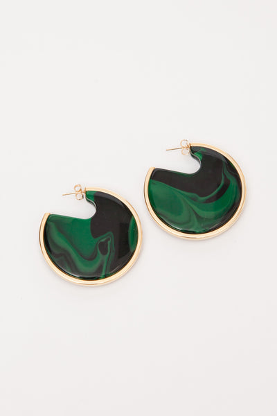 Malachite Nina Disc Earrings