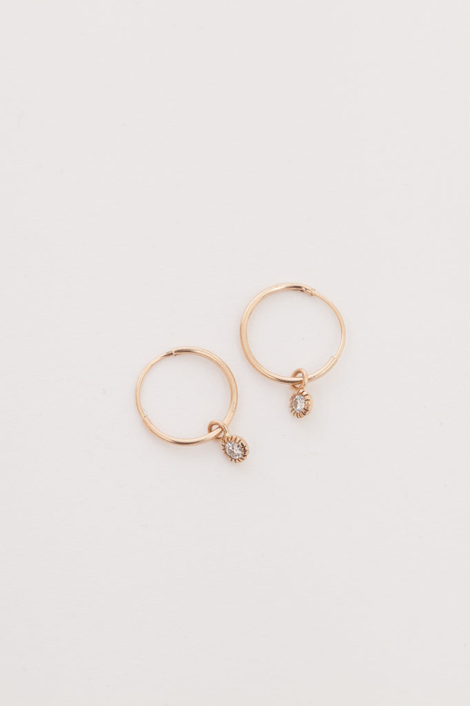 Tiny Hoop with Diamond Earrings