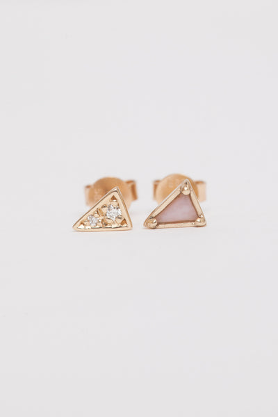 Mismatched Snowdrift Agate Triangle Earrings