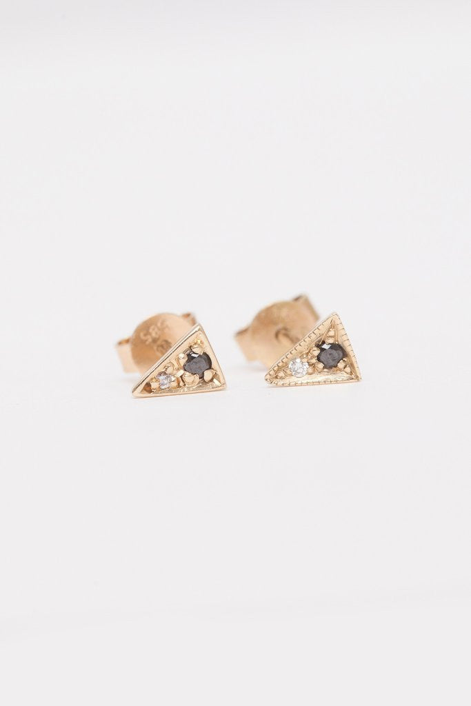 Black and White Diamond Triangle Studs