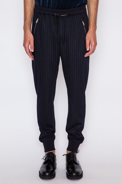 Pinstripe Ponte Tapered Sweatpant