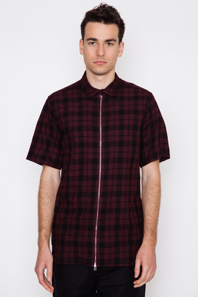 Overdyed Plaid Place Zip Front S/S Shirt