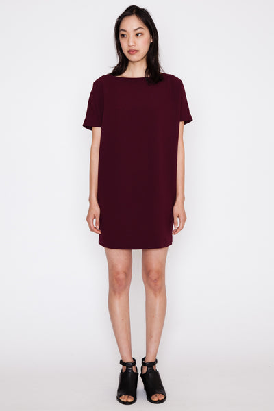 Burgundy Angle Mini Dolman Open Back Dress SS16