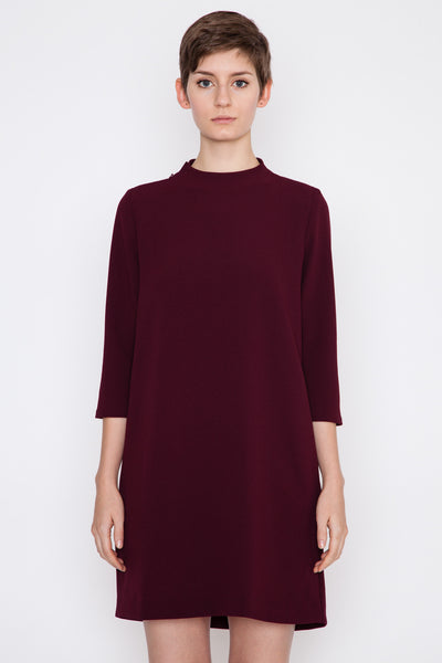 Burgundy Pure 3/4 Sleeve Mockneck Dress