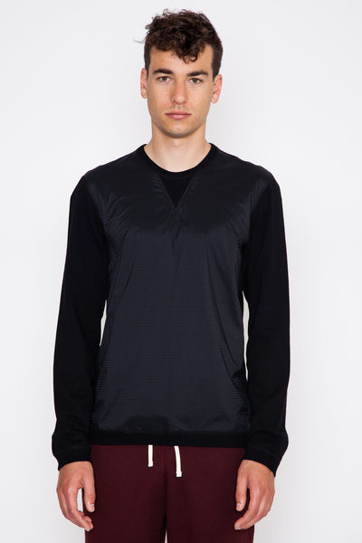 Nylon/Terry Hybrid Crewneck