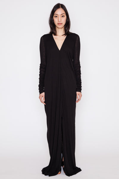 Black L/S V-Neck Gown