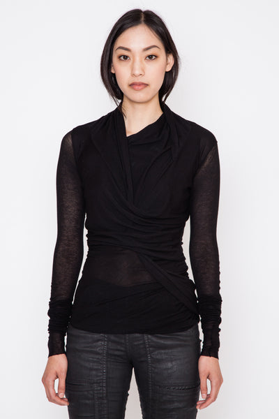 Black L/S Wrap Top