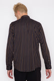 Striped Shoulder Pleat Shirt